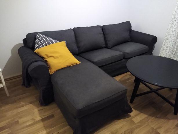 Sofa Ektorp Ikea ciemno szara 3osobowa z lezanka szezlongiem
