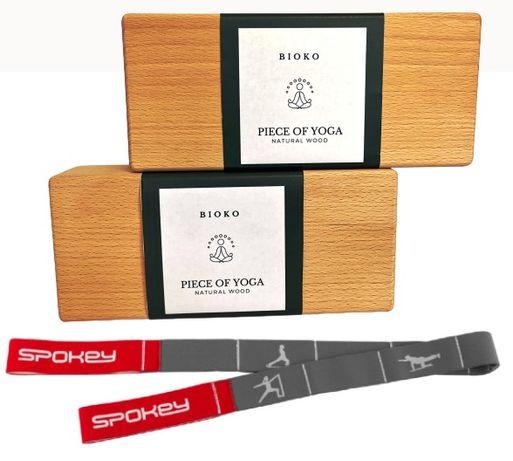 Klocek do jogi drewniany 2 szt. + pasek do rozciągania. Zestaw 3w1