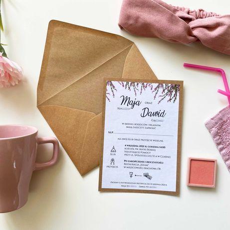 Zaproszenia ślubne rustykalne jednokartkowe WRZOSY