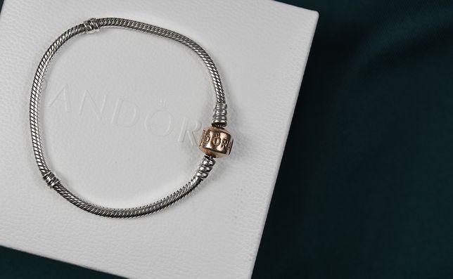 PANDORA bransoletka 17cm z zapieciem Rose srebro 925 ALE