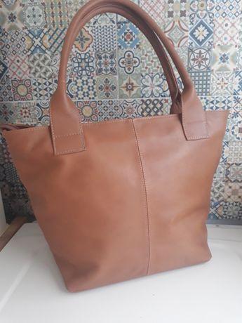 Skórzana piękna ruda torba skora naturalna łódzki produkt