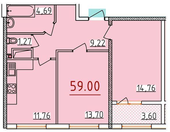 ЗВОНИТЕ! 2-комнатная квартира. 58 м2.Приморский р-н. ЖК 34 Жемчужина.