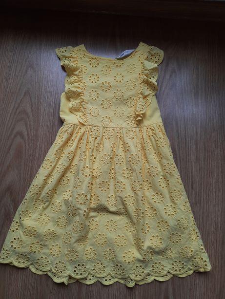 Sukienka z haftem angielskim hm h&m 122