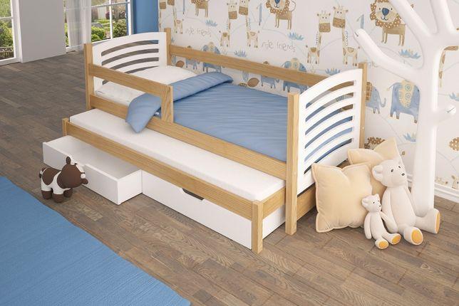Nowe podwójne łóżko OLEK z barierką + materace ! Dostawa cały kraj
