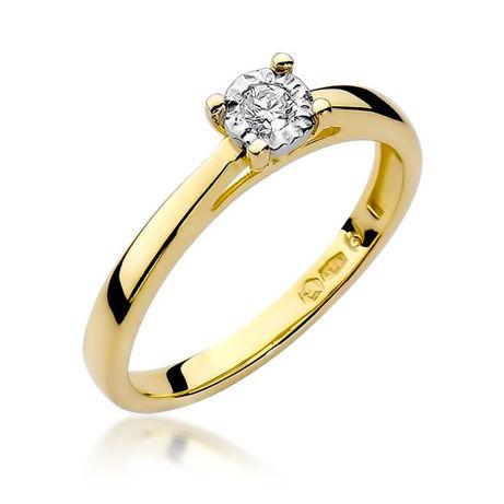 -20% Złoty pierścionek z brylantem 1x0,080ct pr.585 - Chorzów