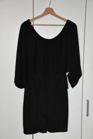 Sukienka czarna, dół ołówkowy z baskinką M