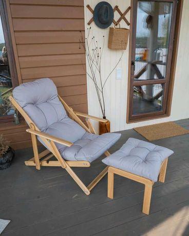 Кресло-шезлонг + Пуфик из  лиственницы, комплект.