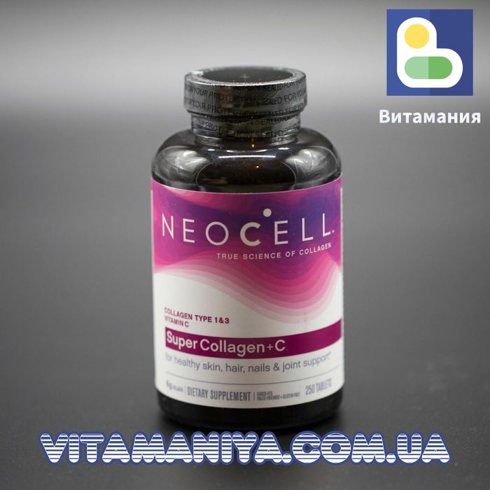 Супер Коллаген, Тип 1 и 3, Collagen + C, Neocell, 6000 мг, 250 таб. Киев - изображение 1