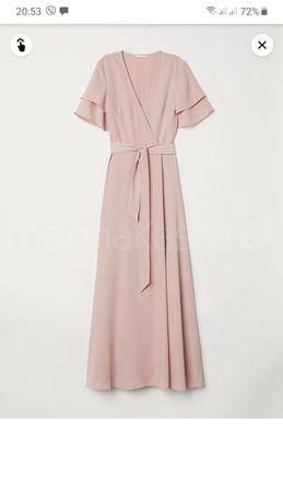 Шикарное H&M платье пудровое на запах выпускной торжество