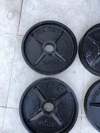 Pesos discos musculacao olimpico weider