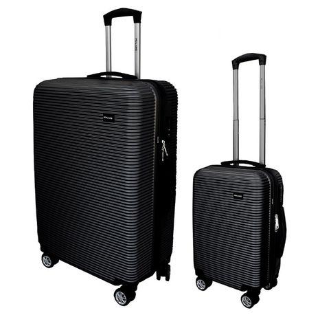 Zestaw klasycznych walizek podróżnych XL + M CZARNE na kółkach