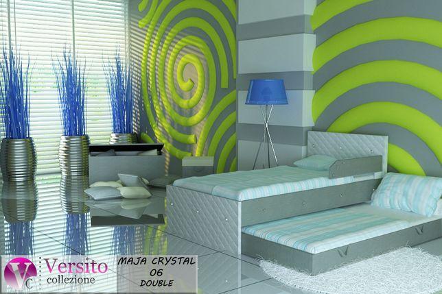 Łóżko piętrowe, wysuwane dla dzieci, biel-róż+KRYSZTAŁKI -Kłodzko