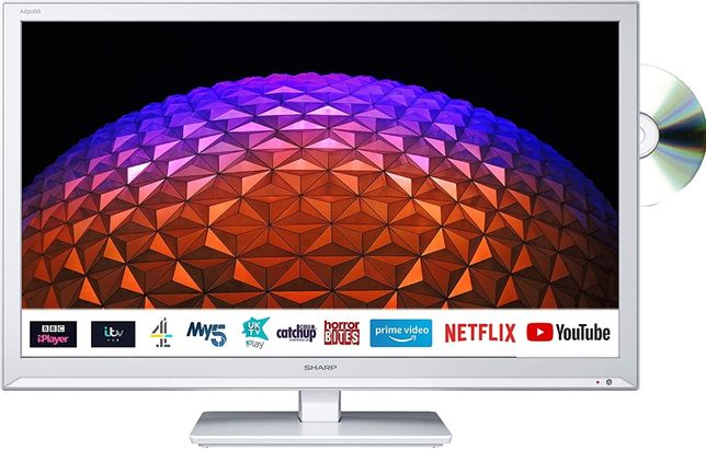 "Sharp24""LED/DVD/CD SmartTV Wi-Fi-Netflix,YouTube zasilacz 12v/24V/230V"