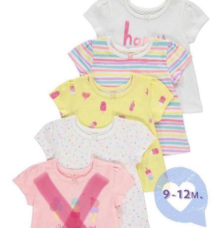 НОВЫЕ футболки для девочек 9-12 мес. George