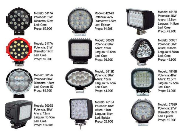 BAIXAS Farol Projector Led todas as potências medidas e fabricantes