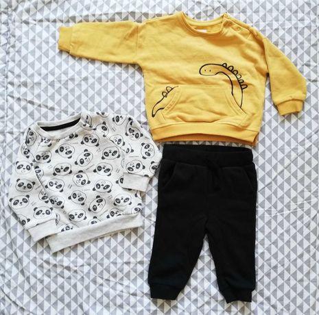 Żółta bluza, szara bluza w pandy i spodnie czarne - coolclub roz 74