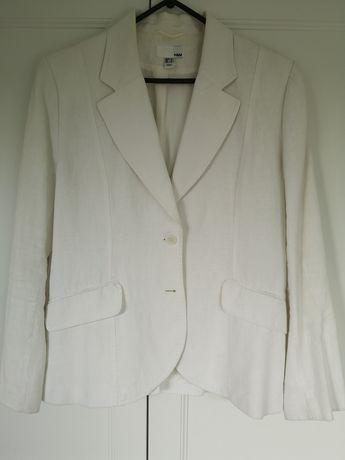 Білий лляний піджак H&M (льняной пиджак, лен, льон)