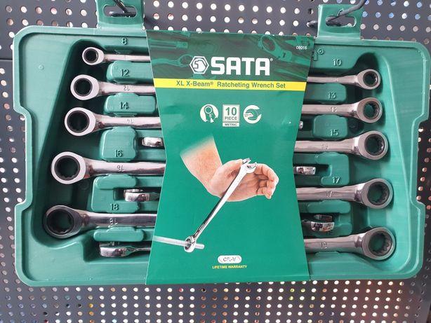 Zestaw 10 kluczy płasko-oczkowych XL X-BEAM z grzechotką Firmy SATA