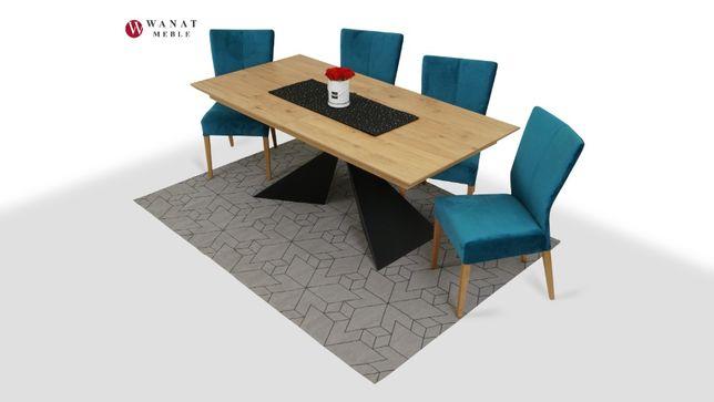 Zestaw Stół Loftowy 4 Dębowe Krzesła Welur