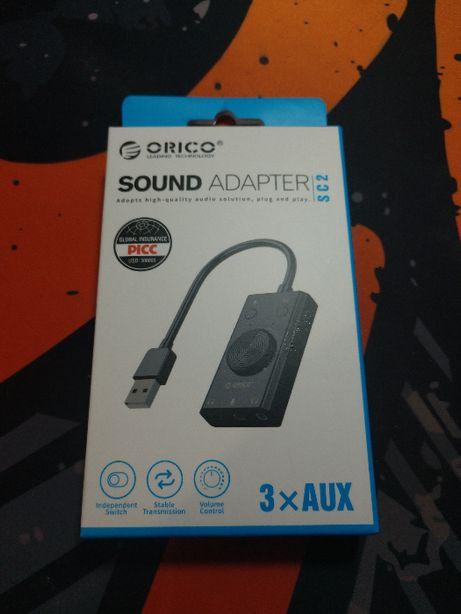 Внешняя USB звуковая карта ORICO SC2 ЦАП с микрофонным входом