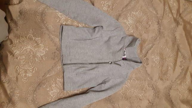 Модный пиджачок для девочки на змейке, на флисе, с карманами 128см