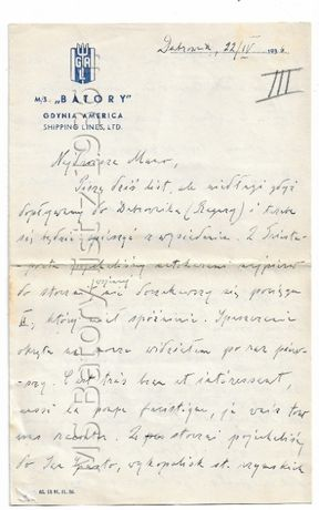 MS Batory list z 1936 r.