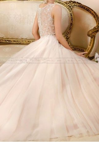 Suknia ślubna z trenem, kolor ivory / szampański