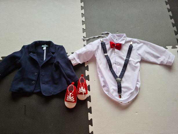 Ubrania dla chłopca- marynarka, koszula, buciki niechodki
