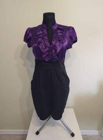Efektowna sukienka na wyjście fioletowo-czarna r. M