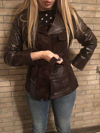 Шоколадна шкіряна куртка (нова, з біркою)