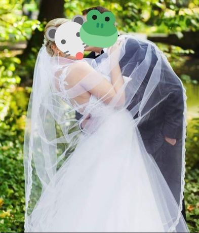 Suknia ślubna z odpinanym trenem, rozm. 38