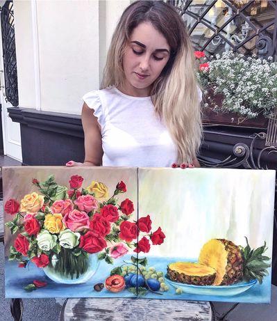 Яркая картина на кухню, розы с фруктами, натюрморт с розами , диптих