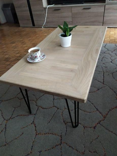 Śliczny stół, stolik, dębowy, lity, nogi hairpin