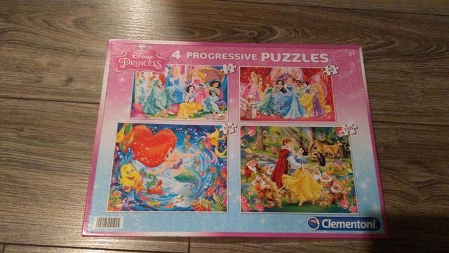 Cztery rodzaje puzzli księżniczki Disneya