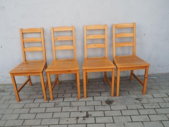 Sosnowy komplet 4 krzeseł całe drewniane 213