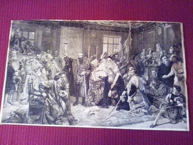 """Miedzioryt z 1878: """"Zygmunt August w Lublinie w 1569r. Henryk REDLICH"""
