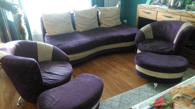 Komplet do salonu Kanapa + 2 fotele + 2 podnóżki
