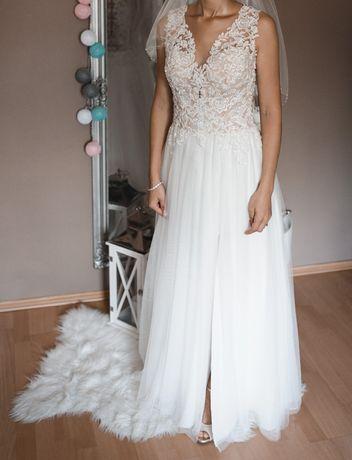 Suknia ślubna Ivory 36 rozporek