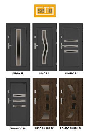 """Drzwi zewnętrzne stalowe Setto Grande 68mm Diego/Rino """"80N/90"""" L/P NOW"""