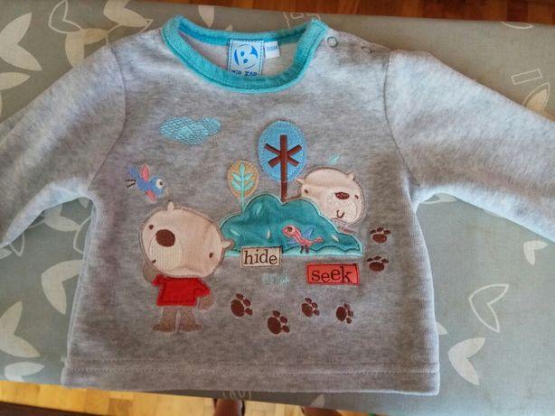 Welurowa bluza sweterek rozmiar 68/74 szara