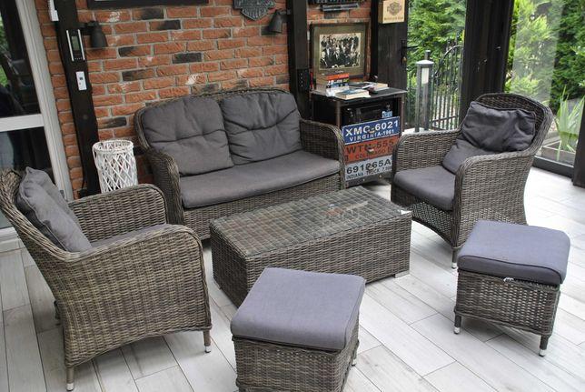 Meble Ogrodowe Zestaw Kawowy z Technorattan ARES  Sofa fotel stolik