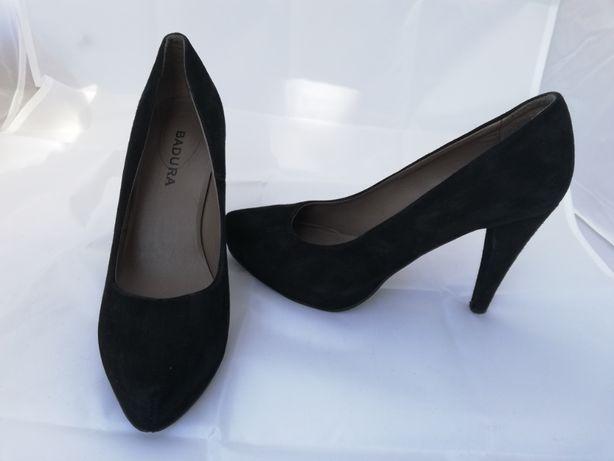 Buty szpilki zamszowe Badura r.36, wkładka 23,5cm