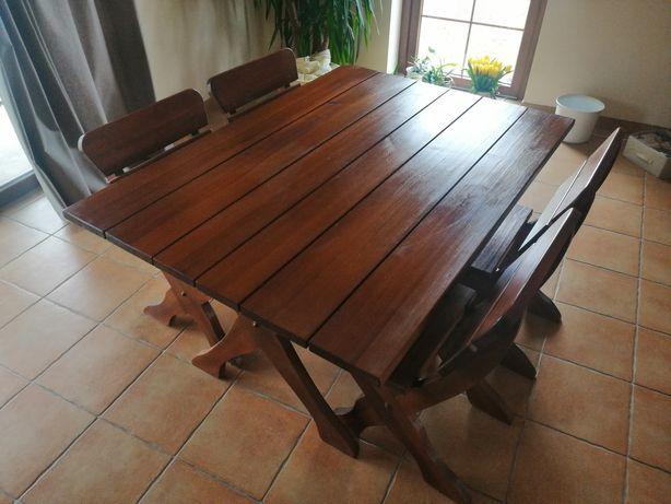 Stół sosnowy + cztery krzesła
