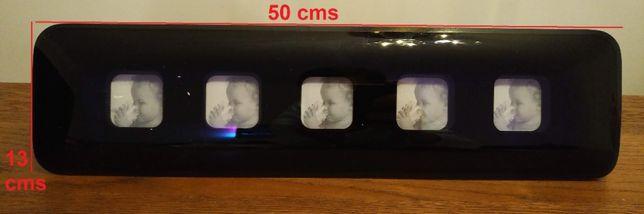 """moldura de vidro preto - 5 fotos """"passe"""""""