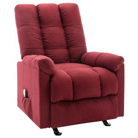vidaXL Poltrona de massagens reclinável tecido vermelho tinto 321413