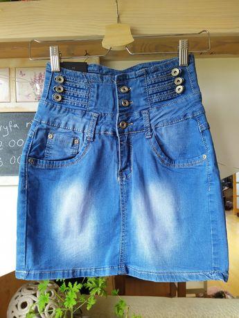 Spódnica jeansowa mini z wysokim stanem