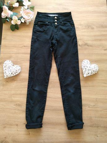 New Look czarne spodnie jeansy 34 XS 158 164 z wysokim stanem rurki