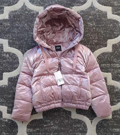 Pikowana kurtka zimowa Zara metalizowana pudrowy róż L 40