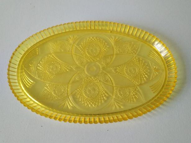Пластиковый желтый узорный поднос сервировочное блюдо тарелка СССР
