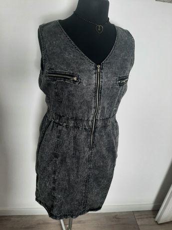 Sukienka jeansowa szara z zamkiem nowa 42/xl